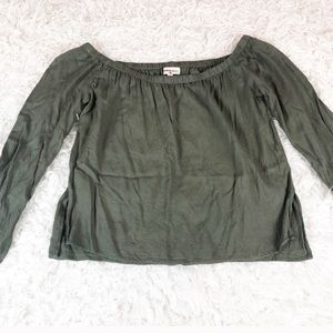 Cloth & Stone Moss Green Off The Shoulder Top